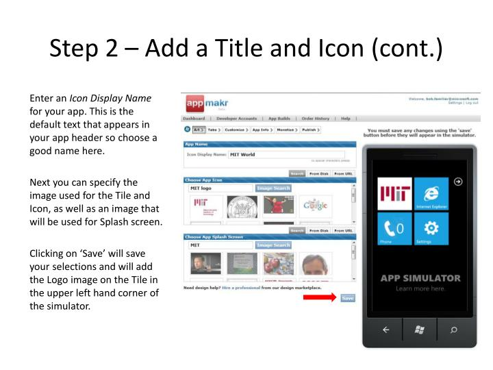 Step 2 – Add a Title and Icon (cont.)