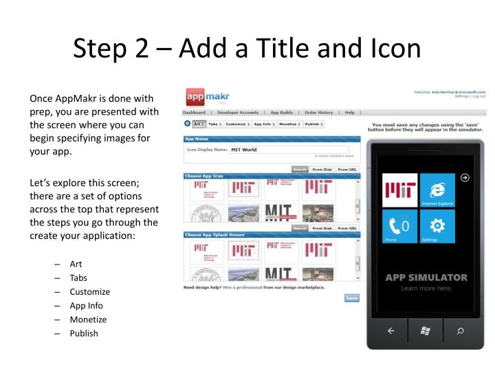 Step 2 – Add a Title and Icon