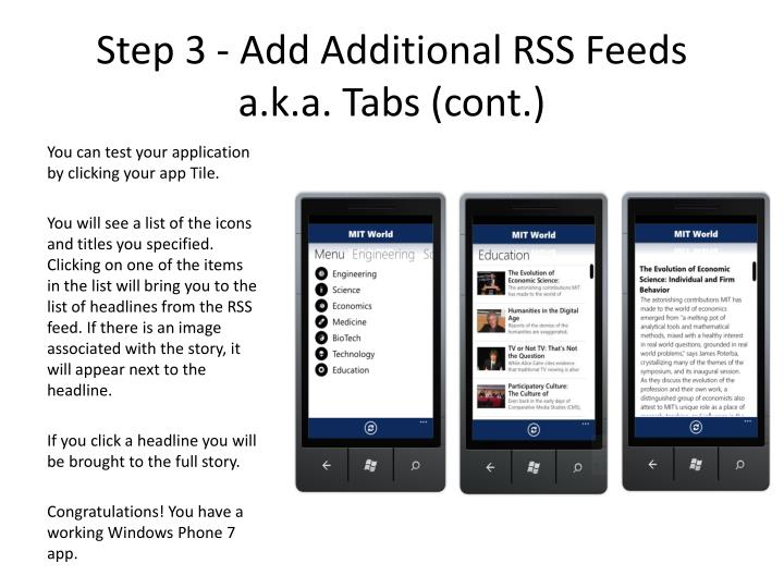 Step 3 - Add Additional RSS Feeds a.k.a. Tabs (cont.)