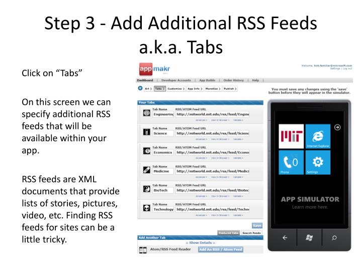 Step 3 - Add Additional RSS Feeds a.k.a. Tabs