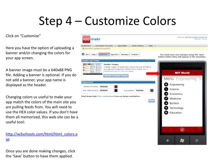 Step 4 – Customize Colors