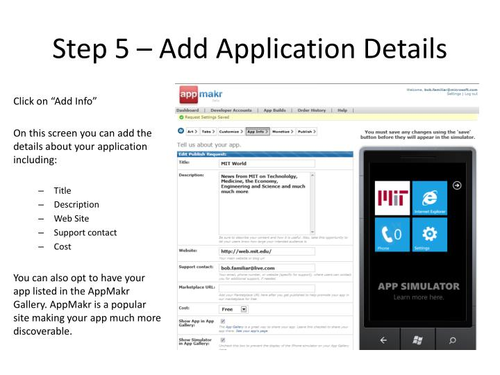 Step 5 – Add Application Details