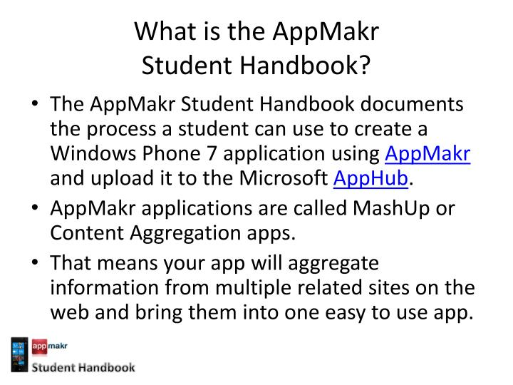 What is the appmakr student handbook