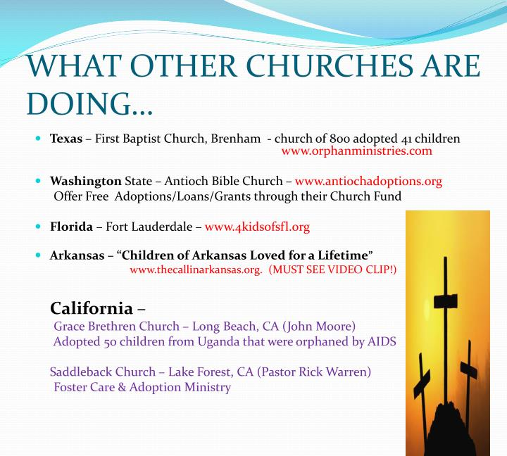WHAT OTHER CHURCHES ARE DOING…