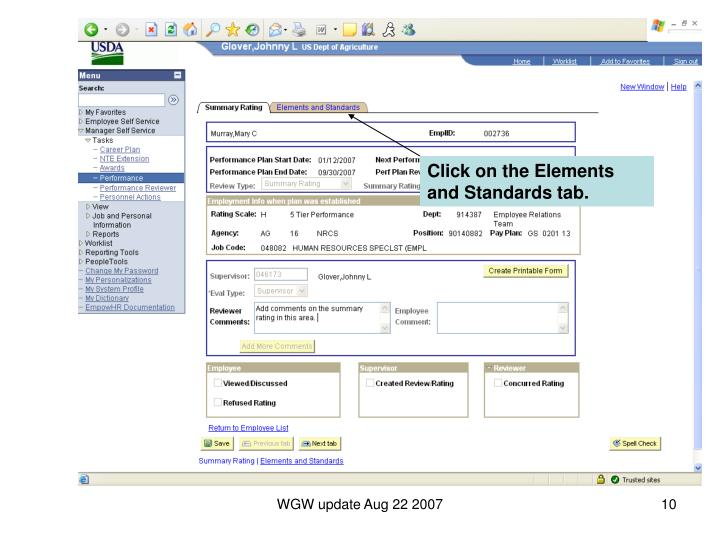 Click on the Elements and Standards tab.