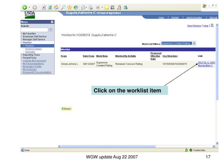 Click on the worklist item