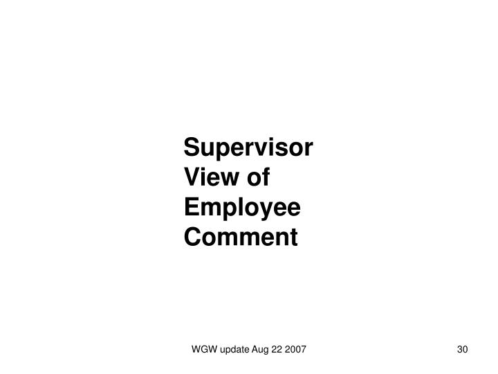 Supervisor View of Employee Comment