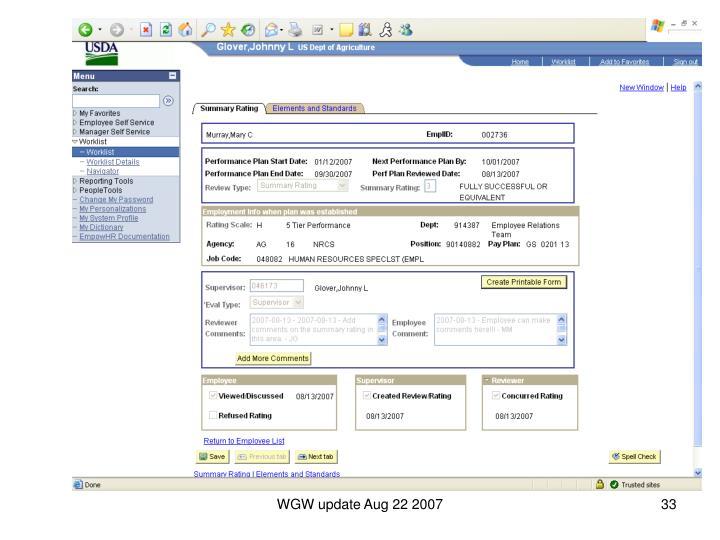 WGW update Aug 22 2007
