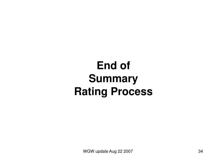 End of Summary Rating Process