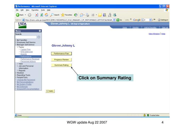 Click on Summary Rating