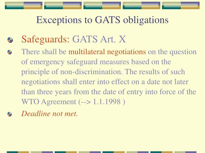 Exceptions to GATS obligations