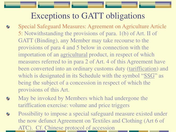 Exceptions to GATT obligations