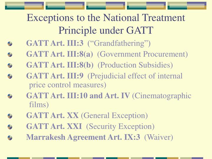 Exceptions to the National Treatment Principle under GATT