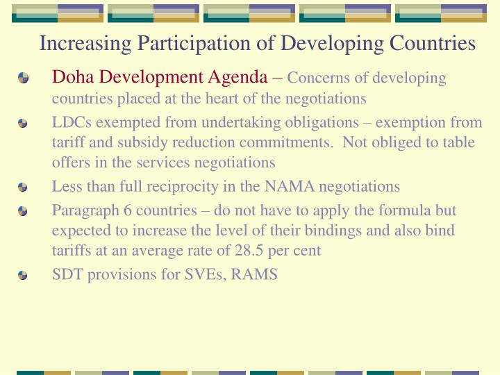 Increasing Participation of Developing Countries