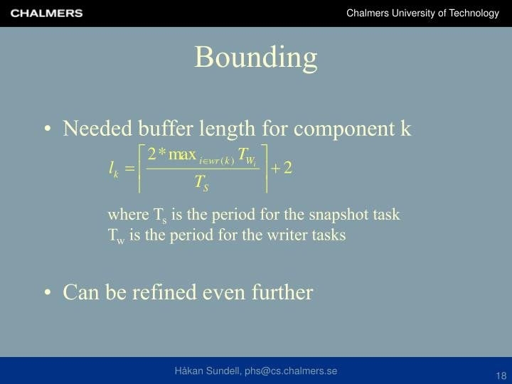Needed buffer length for component k