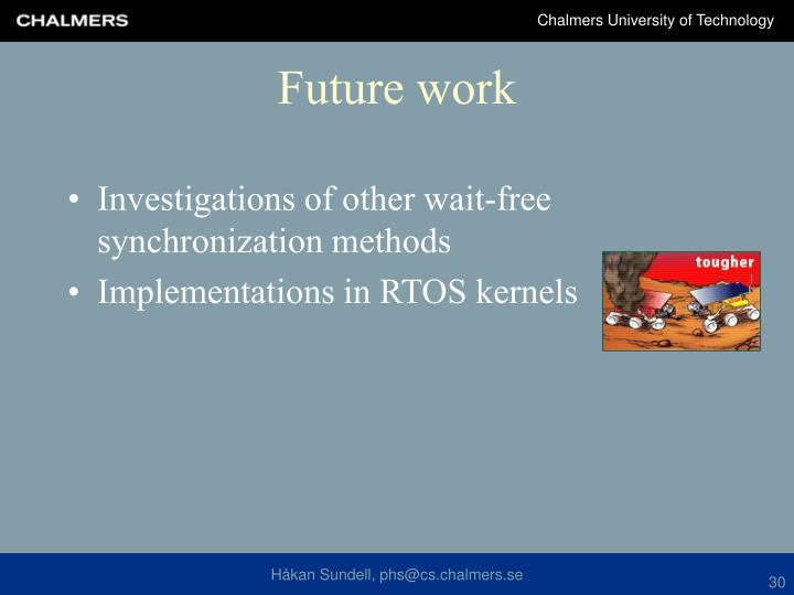 Investigations of other wait-free synchronization methods