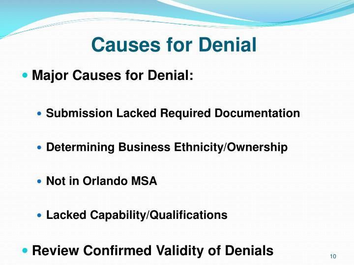 Causes for Denial