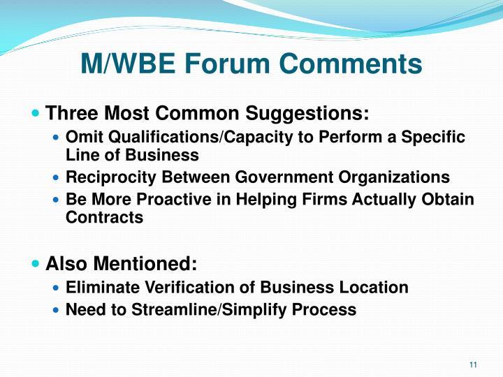 M/WBE Forum Comments