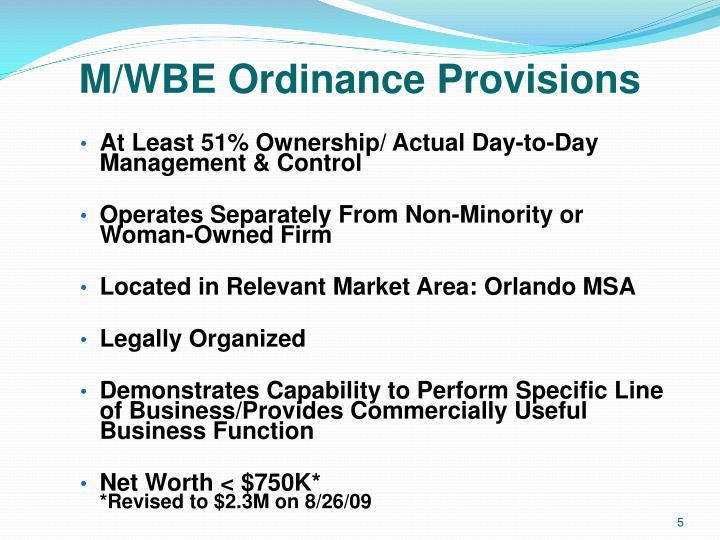 M/WBE Ordinance Provisions