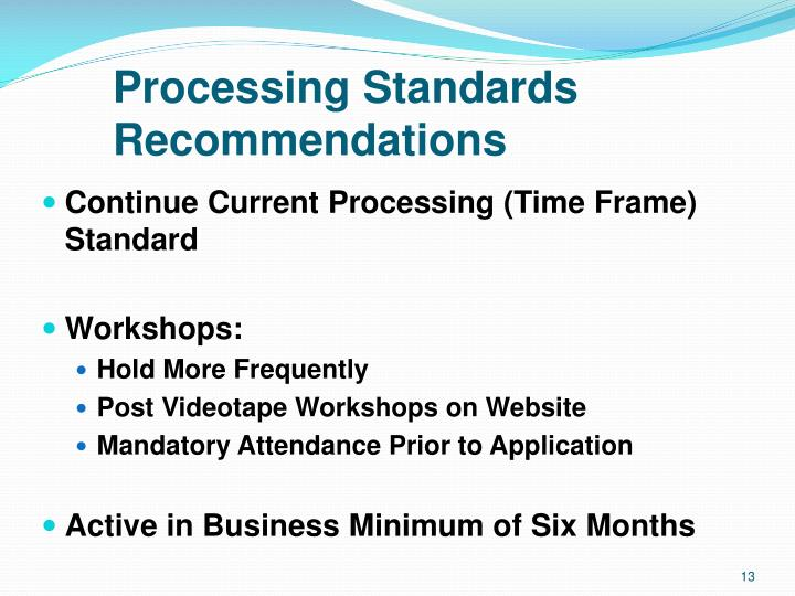 Processing Standards Recommendations