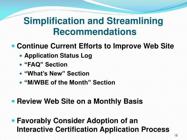 Simplification and Streamlining