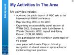 my activities in the area