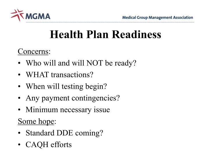 Health Plan Readiness