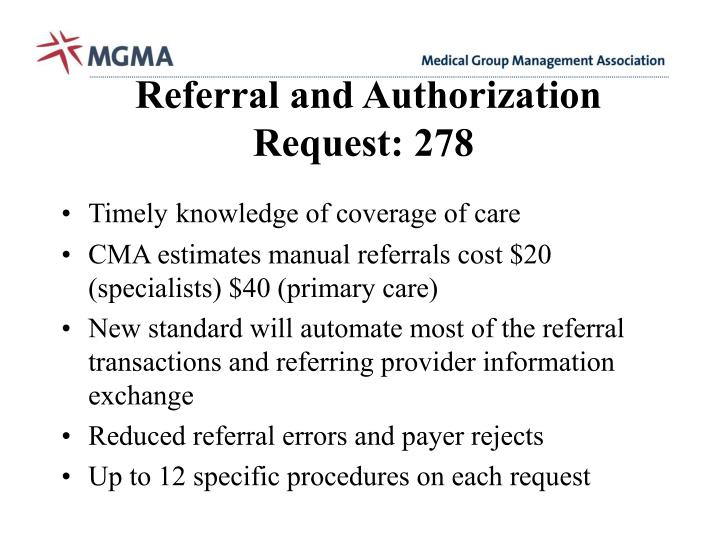 Referral and Authorization Request: 278