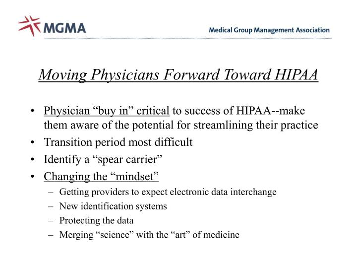 Moving Physicians Forward Toward HIPAA