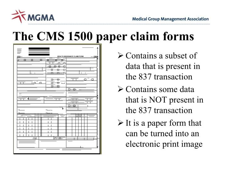 The CMS 1500 paper claim forms