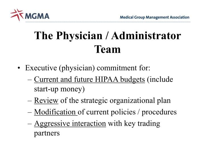 The Physician / Administrator Team