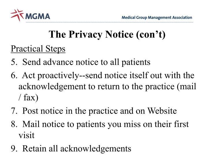 The Privacy Notice (con't)