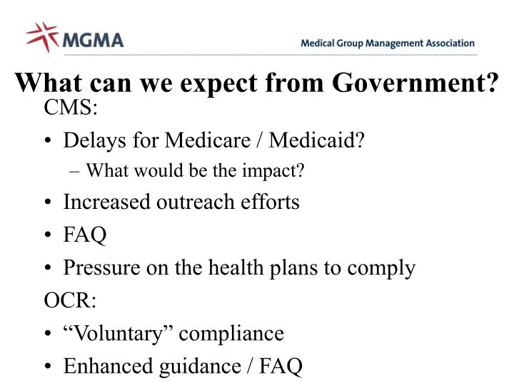 What can we expect from Government?