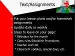 text assignments