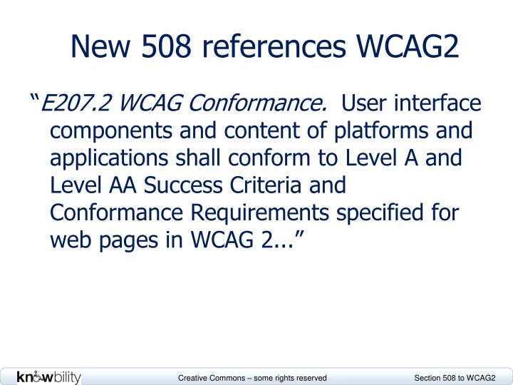 New 508 references WCAG2
