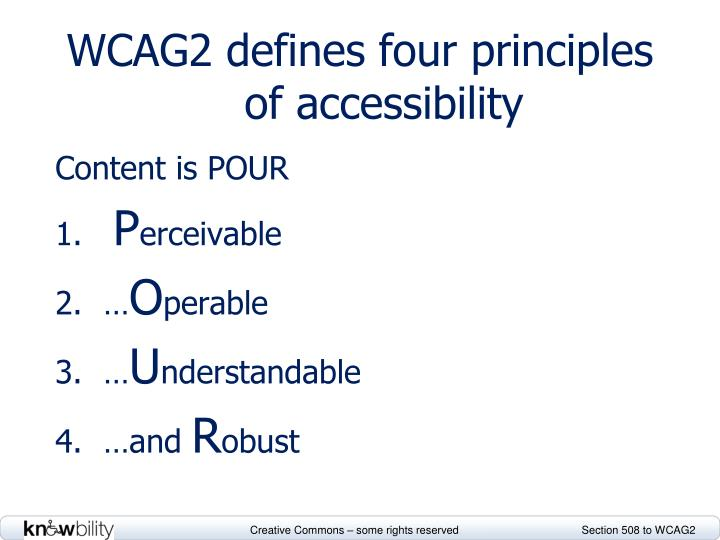 WCAG2 defines four principles of accessibility