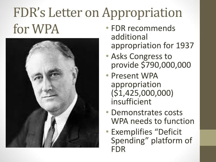 FDR's Letter on Appropriation for WPA