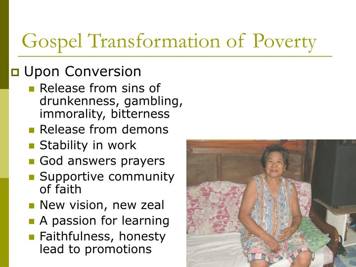 Gospel Transformation of Poverty