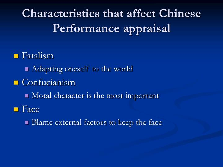 Characteristics that affect Chinese Performance appraisal