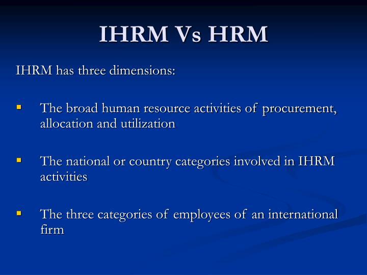 IHRM Vs HRM