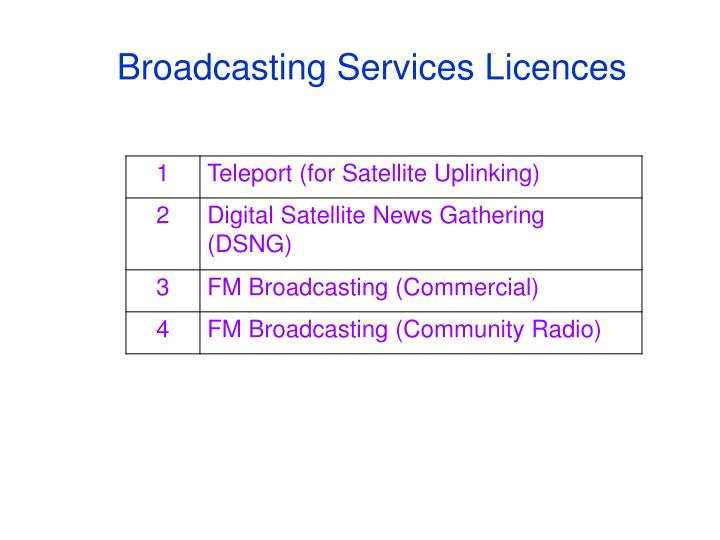 Broadcasting Services Licences