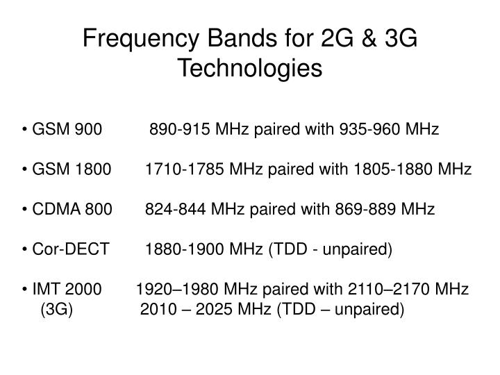 Frequency Bands for 2G & 3G Technologies