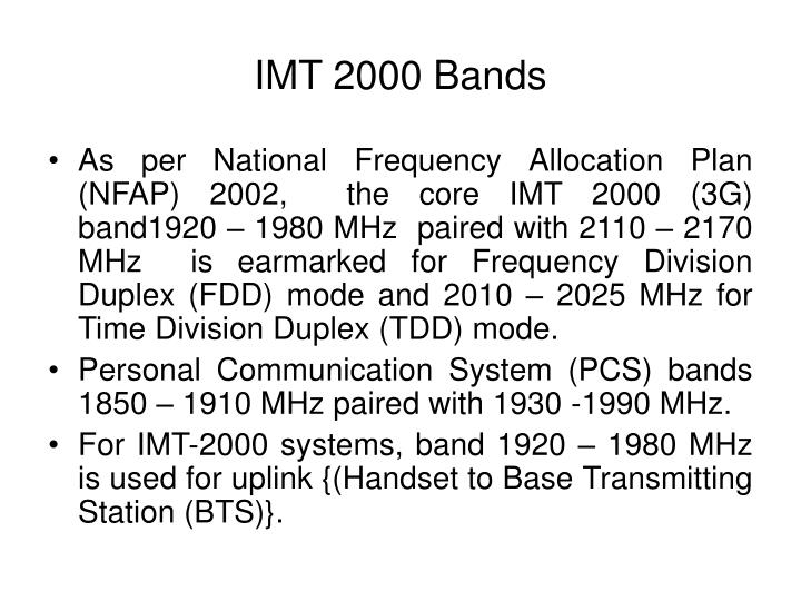 IMT 2000 Bands