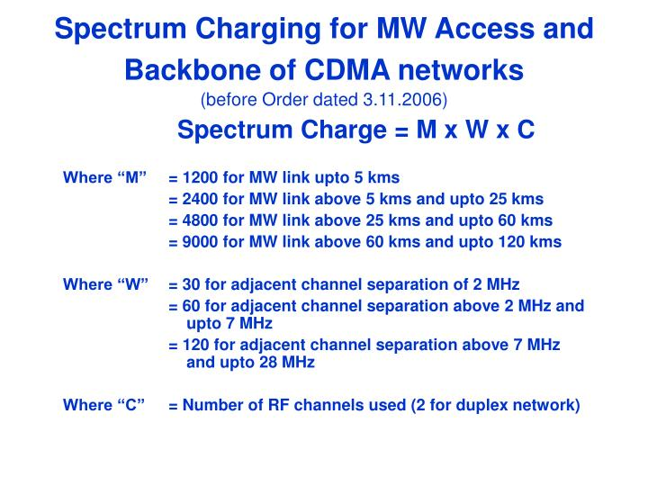 Spectrum Charging for MW Access and Backbone of CDMA networks