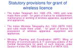statutory provisions for grant of wireless licence