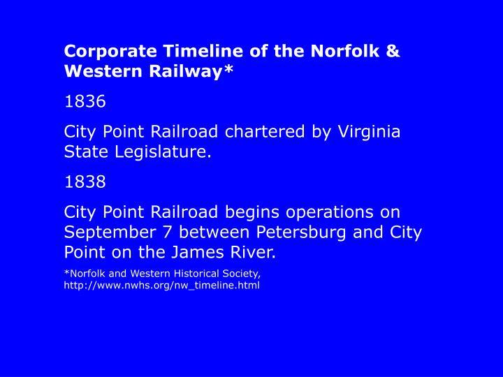 Corporate Timeline of the Norfolk & Western Railway*