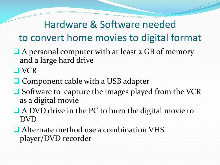 Hardware & Software needed
