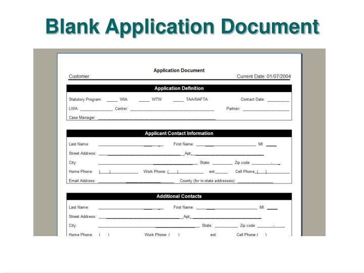 Blank Application Document