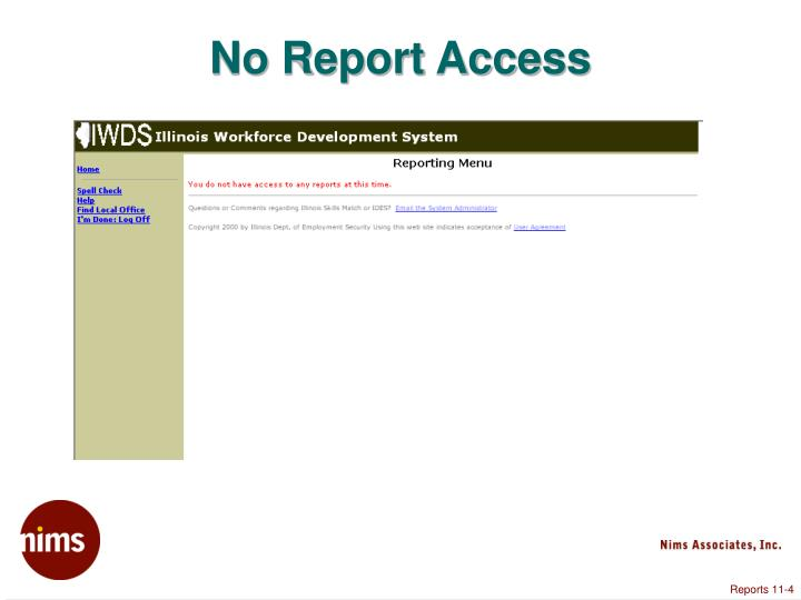 No Report Access