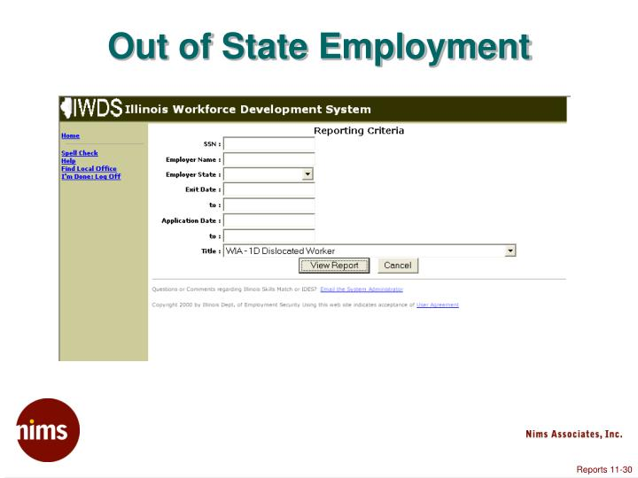 Out of State Employment